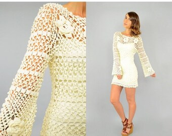 FEBRUARY SALE 60's Cream CROCHET Mini Dress