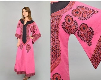 FEBRUARY SALE 70's Indian Cotton ANGEL Sleeve Dress