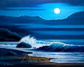 Blue Moon Painting, Moon Over the Ocean, Moon Rising Over the Ocean, Signed Giclee Art Print