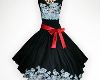 Winsome Black Vintage Flower 50s Pin up Rockabilly Swing Dress Full Swing Skirt