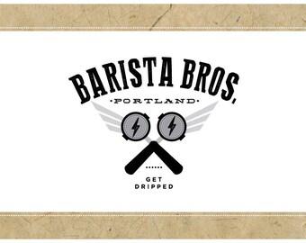 Custom Logo Design - PreDesigned Logo PreMade Logo Vector Logo - OOAK Logo - BARISTA BROS. Logo Branding - Coffee Logo - Cafe Logo
