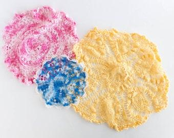 Vintage Crochet Doilies Doily Lot of 3 Crochet Table Doily Cottage Shabby Decor