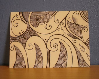Doodle Art Postcard, Abstract Art Postcard Print.