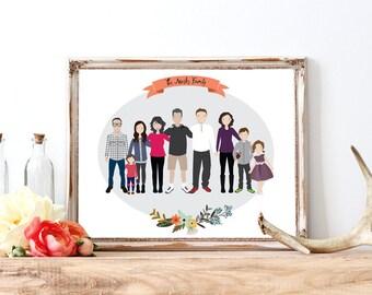 Custom Portrait Illustration | Large Family Illustration | Family Portrait | Pet Portrait | Wedding Gift | Christmas Gift