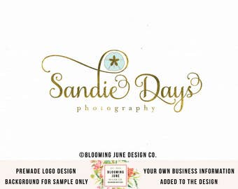 sand dollar logo design nautical logo design premade logo design photography logo beach logo event planner logo wedding planner logo