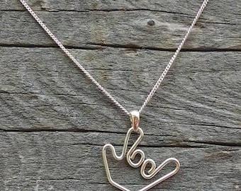 "Sign language ""I Love You"" necklace - Handmade"
