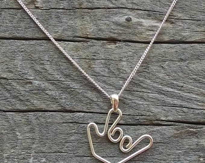 "Sign language ""I Love You"" necklace - Handmade"