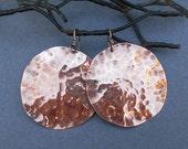 On Sale - Large Hammered Copper Disc Earrings Handmade Jewelry Textured Distressed Metal Modern Boho Bohemian Tribal Round Dangle Earrings