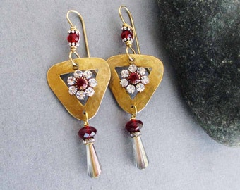Genuine Garnet Earrings Red Flower Earrings with Crystal Drops Boho Art Deco Long Dangles January Birthstone Valentines Day Jewelry