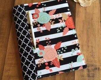 Composition Notebook / Journal Cover - Floral, Black & White Stripes, Quatrefoil