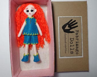 "Mini FabsTM 5"" tall felt doll with removable outfit and shoes, all completely hand-sewn, comes in a hand-made gift box"