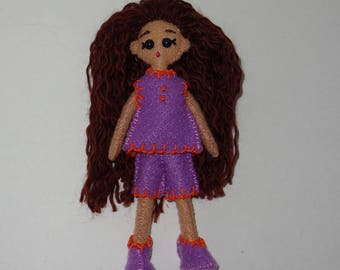 "Mini FabsTM 5"" tall felt doll with removable outfit and shoes, all completely hand-sewn, comes in a hand-made gift bag"
