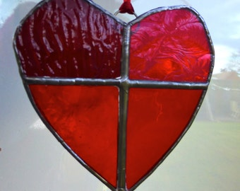 Valentine Red Stained Glass VLove Heart Sun Catcher Light Catcher