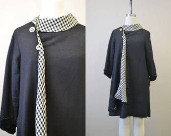 1950s Korrigan Lesur Black Coat Dress