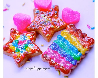 Rainbow Cookies , Diy Projects , SALE 6 pc Deco Den Clay Rainbow frosted Cookies, Phone Case, Trinket Box, Photo Frames , By: Tranquilityy