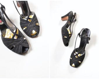 1940s Red Cross peep toe heels - 40s black suede slingbacks / ladies 1940s shoes - slingback heels / black suede peeptoes - mid heel shoes