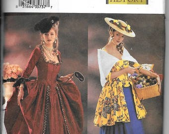 Butterick 3640 Marie Antoinette My Fair Lady Dress Costumes Womans Size 6, 8, 10