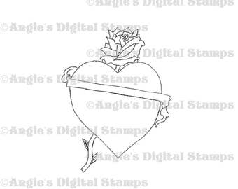 Heart With Ribbon & Rose Digital Stamp Image