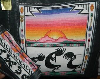 Kokopelli Southwest Cross Stitch~Gray pebbled Leather Tote purse/shoulder bag/shopper & Clutch Wallet 2 Pc SET!