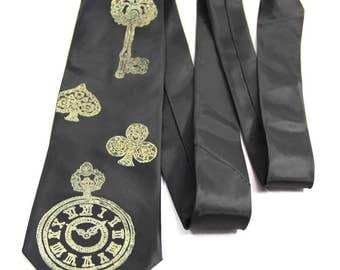 Pocketwatch Key Print Tie Steampunk Necktie Men's Clock Alice in Wonderland Gold Black Vintage Illustration