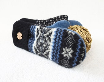 Wool Mittens BLACK & BLUE Nordic / Fair Isle Sweater Wool Gloves Sweater Mittens Fleece Lined Scandinavian Design Gift Under 50 WormeWoole