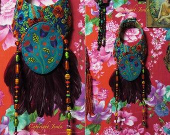 Feathers necklace, wearable art, textile art, fiber art, art necklace, art jewelry, multicolor necklace, beaded necklace,art neckpiece