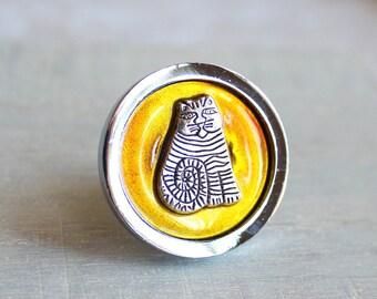 yellow cat drawer pull, decorative drawer pull, cabinet knob, cabinet pull, childrens room, dresser knob, dresser pull, kid decor