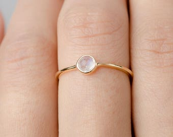 Dainty Moonstone Ring, Sterling Silver. Yellow Gold Vermeil, Dainty Minimalist Ring, Hand Made Jewelry, Girlfriend Gift, Lunai, RNG036MOO