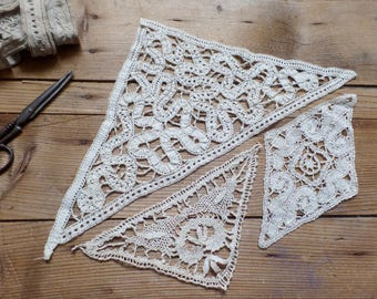 Vintage French 3 lace appliques ribbons and neddle lace