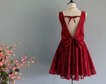 Red dress Burgundy Lace 3D dress red party dress backless dress red prom red cocktail dress red bridesmaid dresses red lace dress