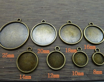 8mm,10mm,12mm,14mm,16mm,18mm,20mm,25mm, Antique Bronze Round one Side Cameo Cabochon Base Settings Collection (One side)