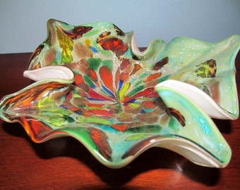 Vintage Glass Murano Bowl with Multiple Colors