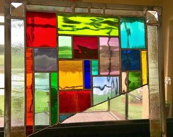 stained glass oddball unique panel suncatcher