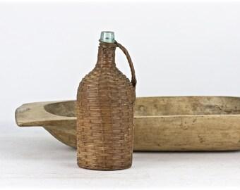 Vintage Demi John Bottle, Demi John Bottle, Wicker Wrapped Bottle, Old Demi John Bottle, Vintage Bottle, Old Bottle