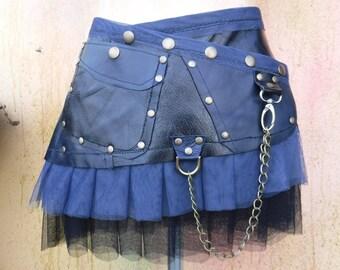 "waxed leather mini skirt 20% Off BURNING MAN black & blue patchwork leather mini skirt/belt.....30"" to 38"" hip"