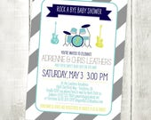 Rock a Bye Baby Shower Invitation - Guitar Music Invitation - Printable File or Printed Invitations
