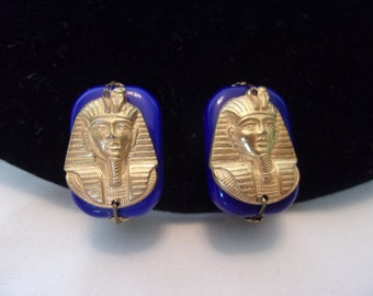 Miriam Haskell Egyptian Revival King Tut Pharoah Gold Plate Lapis Lazuli Glass Clip On Earrings