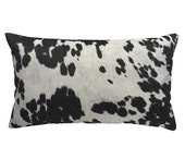 Black Cowhide Pillow Cover, Faux Cowhide Pillow, Cow Print Throw Pillow, Cowhide Cushion Cover, Black and Cream, Choose a Size, Cow Abunga