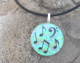 Music Pendant Dichroic Fused Glass Music Jewelry