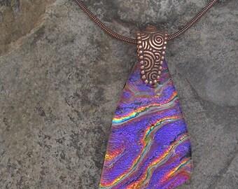 Purple Copper Necklace Dichroic Fused Glass Copper Purple Pendant