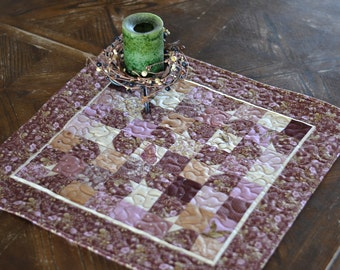 Quilted Table Runner, Butterflies and Dragonflies, maroon purple cream, Moda