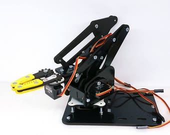 ArmUno 2.0 Robotic Arm Kit Black - Arduino and MeArm Compatible -4 Servos, Parts, Fasteners MeCon Control Software with Arduino Code Samples