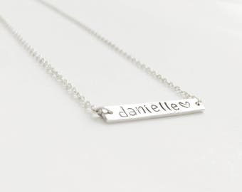 Love you forever (bracelet) - Dainty sterling silver bar bracelet with your personalized name, initials, words