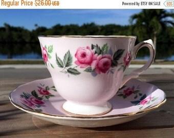 Colclough Pink Tea Cup and Saucer, English Bone China Teacup, Pink Roses 13857