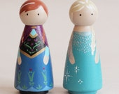 Frozen Elsa and Anna Peg Dolls Set of 2,