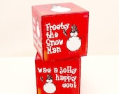 PRE-CHRISTMAS SALE Red Wooden Christmas Block, Frosty the Snowman Block, Cute Snowman Images, Song Lyrics