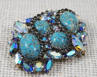 Hattie Carnegie Turquoise Blue Art Glass Cabochon with Grey and Pastel Aurora Borealis Rhinestone Brooch