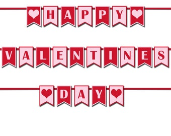 Happy Valentines Day Banner, Photo Prop Banner, Valentines Party Decorations, Printable Banner, Valentine's Day Party Decor-DP422