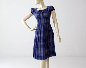 SALE 1950s day dress by Sandra Lee, blue cotton sundress small