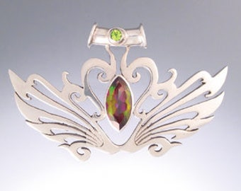 70% Off CLEARANCE SALE - Large Tribal-Celtic Pendant with Mango Topaz and Peridot - Unique Handmade